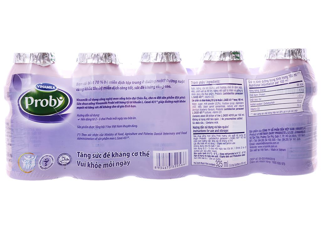 Lốc 5 chai sữa chua uống men sống việt quất Vinamilk Probi 65ml 6