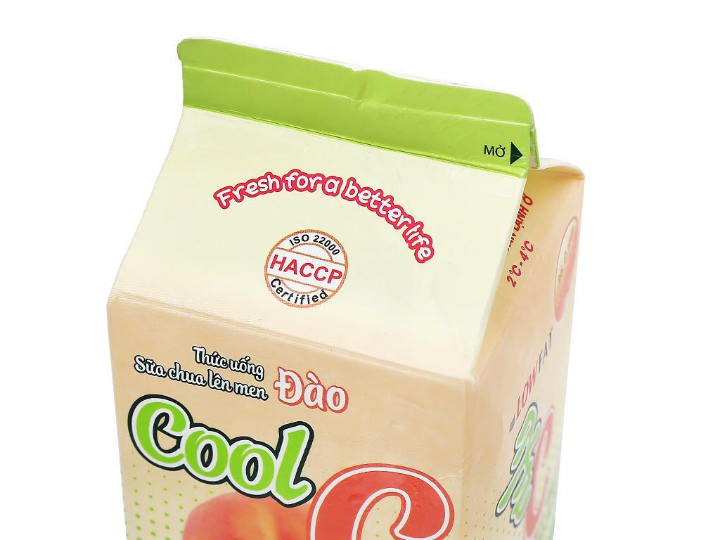 Sữa uống lên men hương đào Dalat Milk Cool C hộp 450ml 8