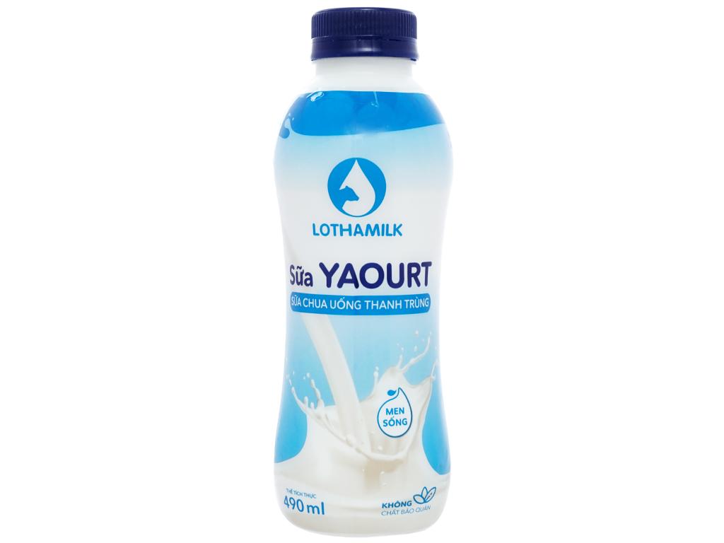 Sữa chua uống thanh trùng có đường Lothamilk chai 490ml 1