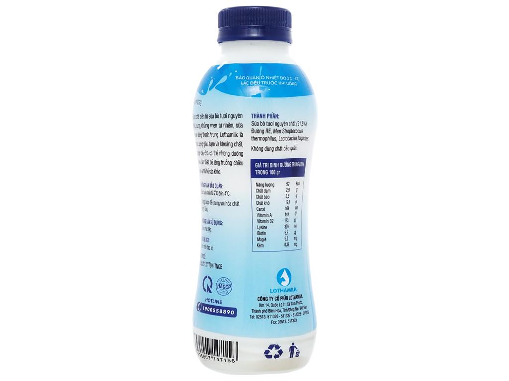 Sữa chua uống thanh trùng có đường Lothamilk chai 490ml 2