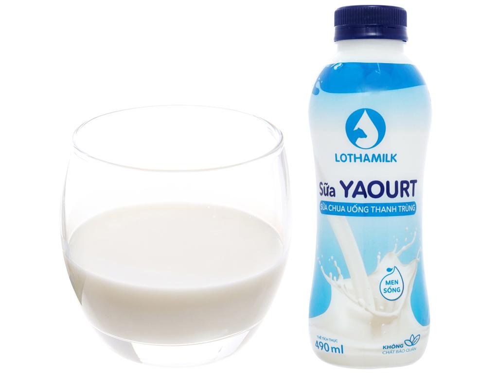 Sữa chua uống thanh trùng có đường Lothamilk chai 490ml 4
