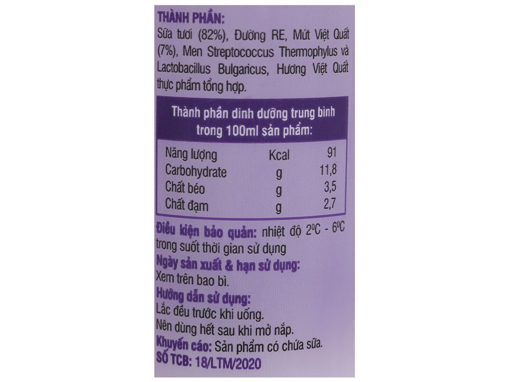 Sữa chua lắc việt quất Lothamilk chai 180ml 3