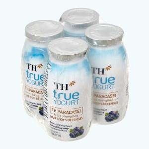 Lốc 4 chai sữa chua uống men sống việt quất TH True Yogurt 100ml
