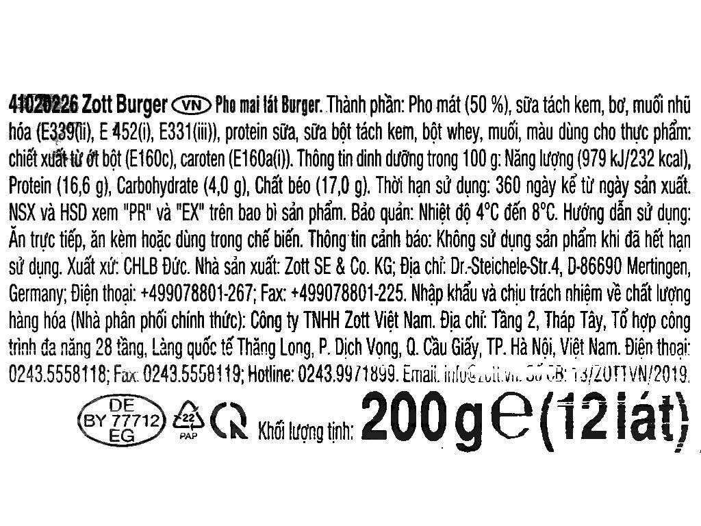 Phô mai lát Zott Burger gói 200g (12 lát) 4