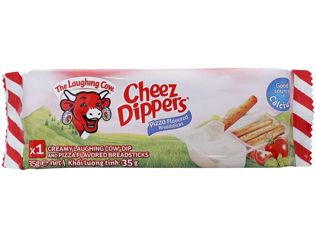 Phô mai chấm bánh vị pizza Con Bò Cười Cheez Dippers gói 35g 4