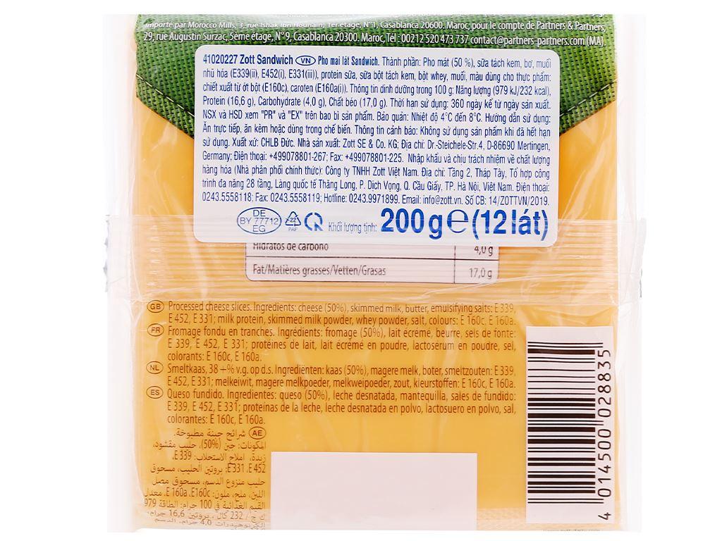Phô mai lát Zott Sandwich gói 200g (12 lát) 3