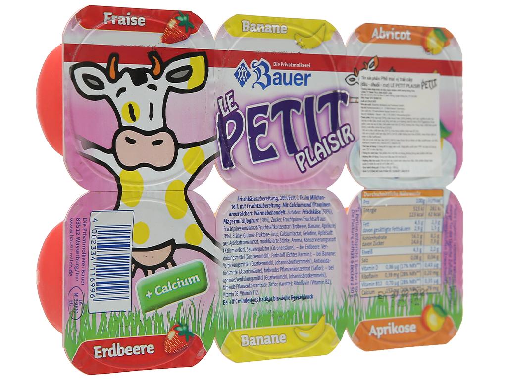 Lốc 6 hộp phô mai vị trái cây (dâu, chuối, mơ) Kids Mix Le Petit Plaisir 50g x 6 hũ 1
