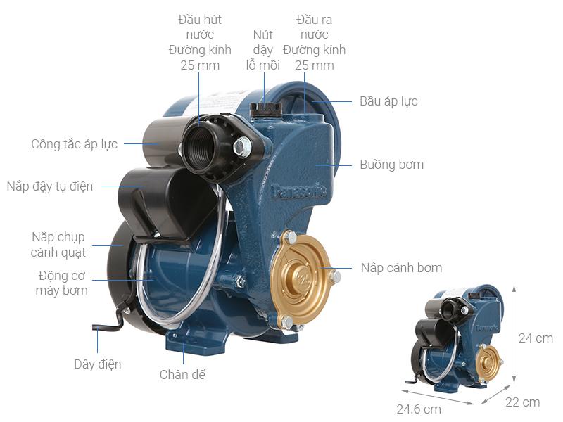 Thông số kỹ thuật Máy bơm nước tăng áp Panasonic A-130JAK 125W