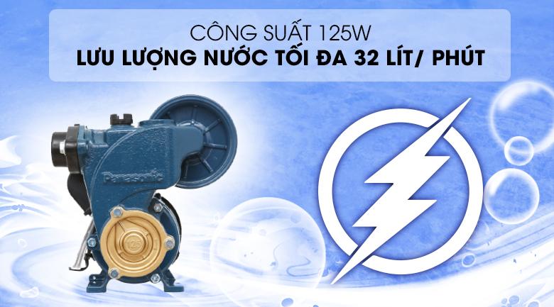 Máy bơm nước tăng áp Panasonic A-130JAK 125W - Công suất 125W, cho khả năng bơm nước với lưu lượng tối đa 32 lít/ phút