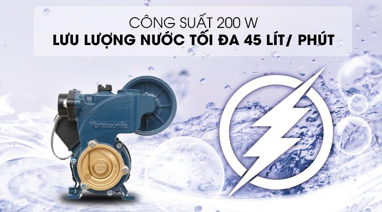 Máy bơm nước tăng áp Panasonic A-200JAK 200W - Công suất 200W, cho khả năng bơm nước với lưu lượng tối đa 45 lít/ phút