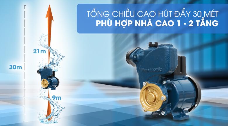 Máy bơm nước đẩy cao Panasonic GP-129JXK-SV5 125W - Hút sâu tối đa 9 mét và cấp nước lên độ cao tối đa 30 mét