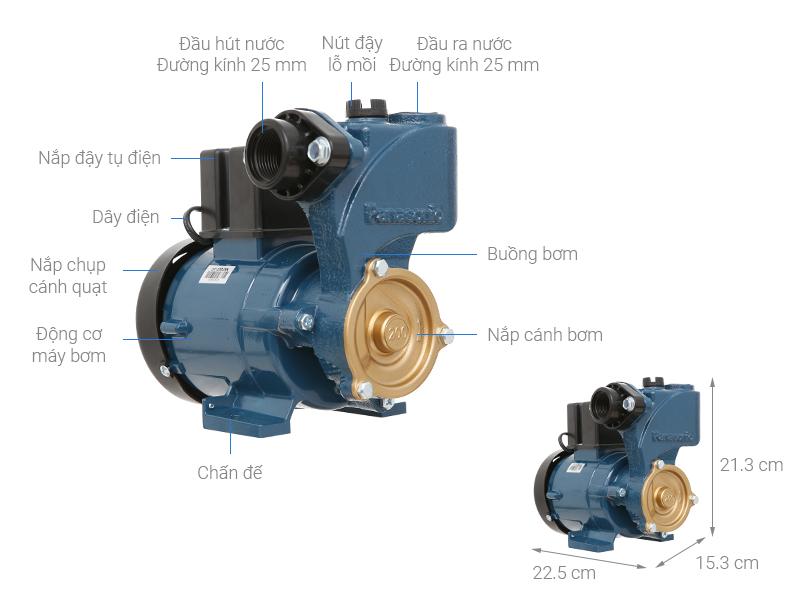 Thông số kỹ thuật Máy bơm nước đẩy cao Panasonic GP-200JXK-SV5 200W