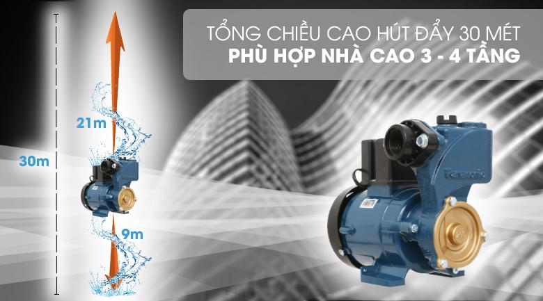 Máy bơm nước đẩy cao Panasonic GP-200JXK-SV5 200W - Hút sâu tối đa 9 mét và cấp nước lên độ cao tối đa 30 mét