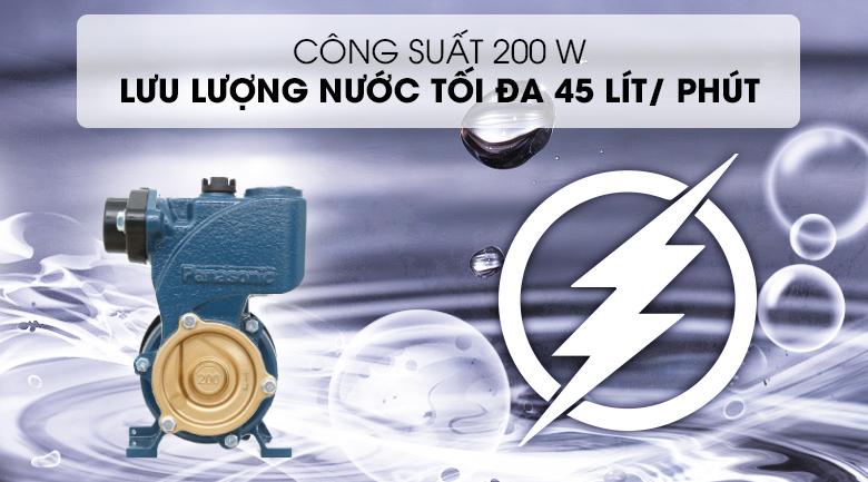 Máy bơm nước đẩy cao Panasonic GP-200JXK-SV5 200W - Công suất 200W, cho khả năng bơm nước với lưu lượng tối đa 45 lít/ phút