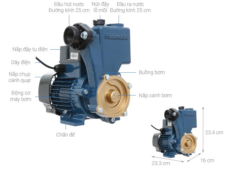 Thông số kỹ thuật Máy bơm nước đẩy cao Panasonic GP-250JXK-SV5 250W