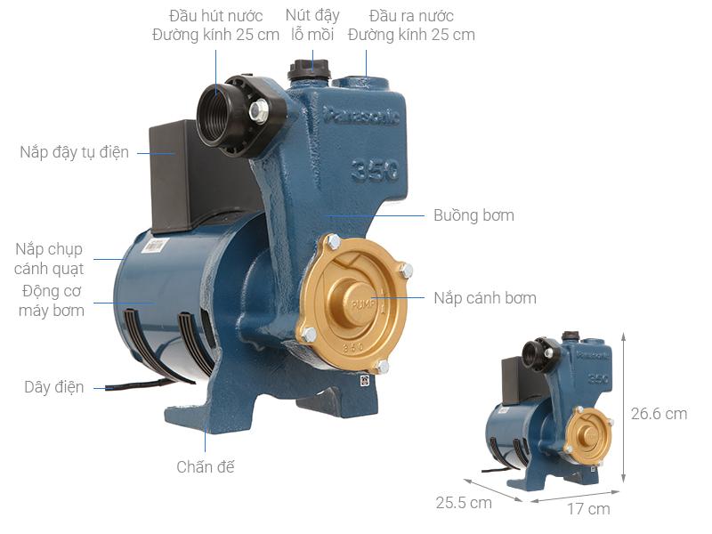 Thông số kỹ thuật Máy bơm nước đẩy cao Panasonic GP-350JA-SV5 350W