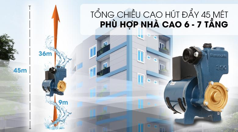 Máy bơm nước đẩy cao Panasonic GP-350JA-SV5 350W - Hút sâu tối đa 9 mét và cấp nước lên độ cao tối đa lên đến 45 mét