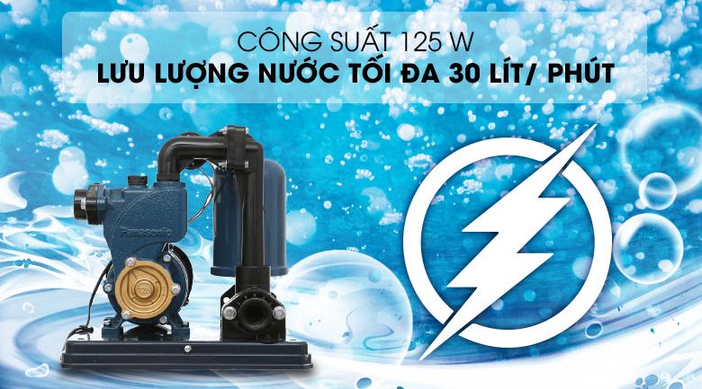 Máy bơm nước tăng áp Panasonic A-130JACK 125W - Công suất 125W, cho khả năng bơm nước với lưu lượng tối đa 30 lít/ phút