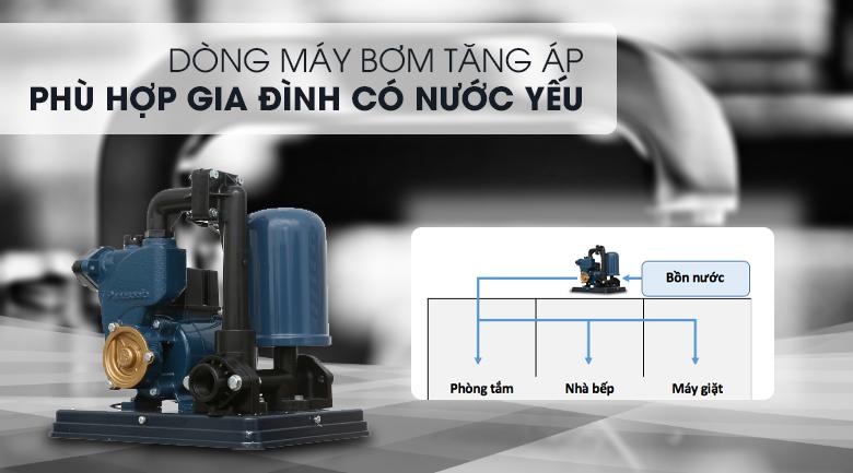 Máy bơm nước tăng áp Panasonic A-130JACK 125W - Thuộc dòng máy bơm tăng áp, phù hợp cho nhà có nước yếu