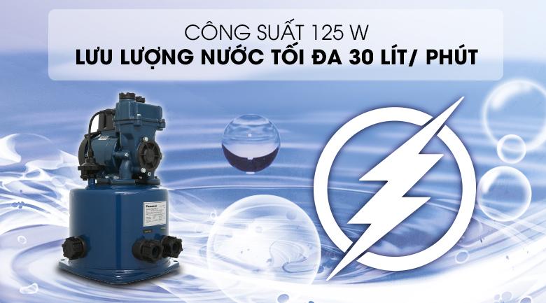 Máy bơm nước tăng áp Panasonic A-130JTX 125W - Công suất 125W, cho khả năng bơm nước với lưu lượng tối đa 30 lít/ phút