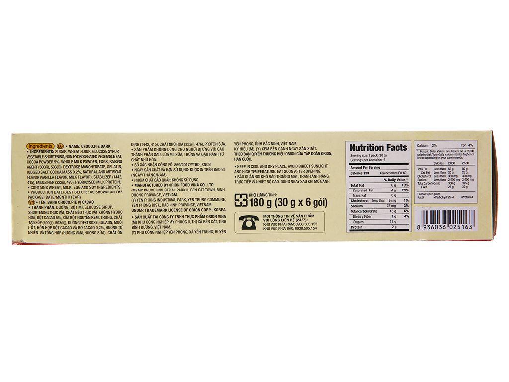Bánh vị ca cao Choco-pie Dark hộp 180g (6 cái) 2