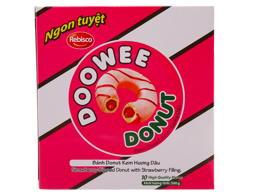 Bánh donut kem hương dâu Doowee Donut hộp 300g (10 cái) 1