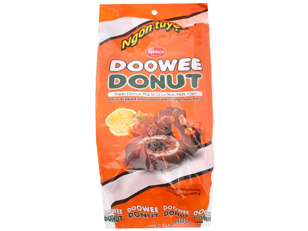 Bánh donut phủ sô cô la nhân mứt cam Doowee Donut gói 360g (12 cái) 1