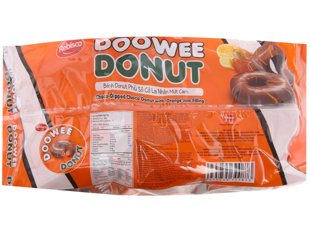 Bánh donut phủ sô cô la nhân mứt cam Doowee Donut gói 360g (12 cái) 2