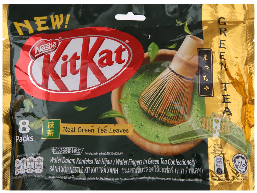 Bánh xốp phủ trà xanh KitKat gói 136g 1