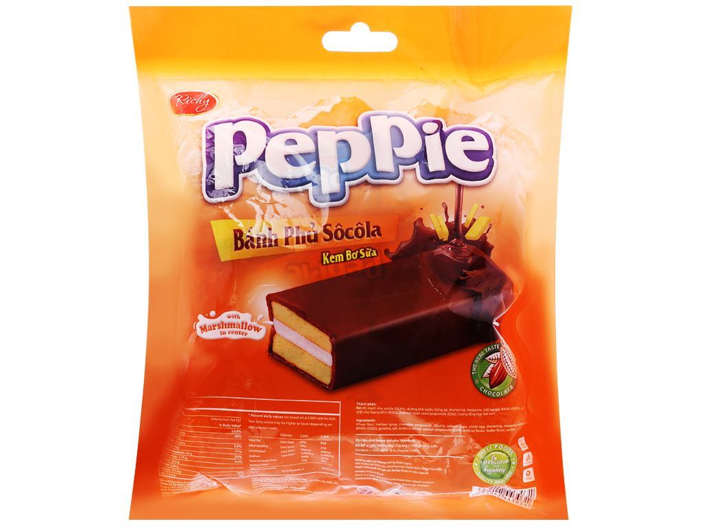 Bánh phủ socola kem bơ sữa Richy Peppie gói 216g 2