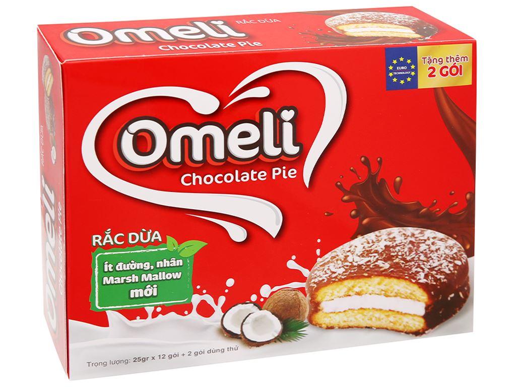 Bánh Omeli Chocolate Pie rắc dừa hộp 300g 1