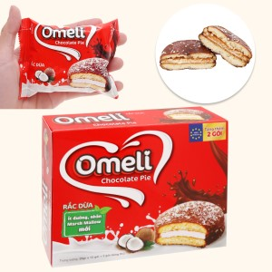 Bánh Omeli Chocolate Pie rắc dừa hộp 300g