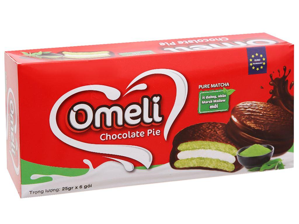 Bánh Omeli Chocolate Pie matcha hộp 150g 1