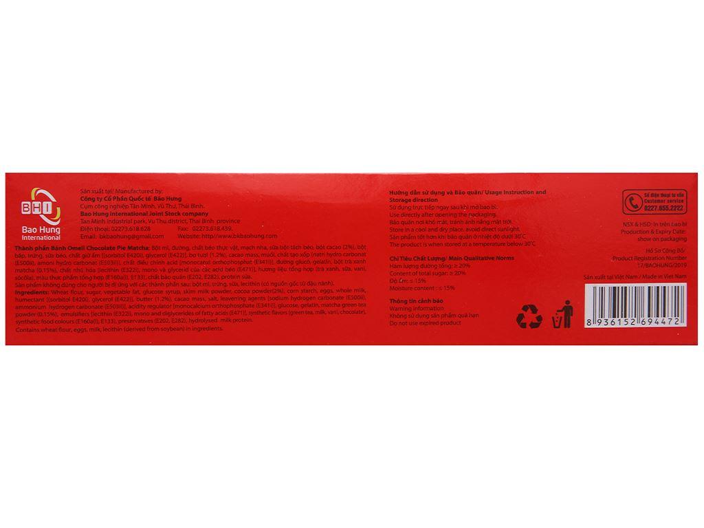 Bánh Omeli Chocolate Pie matcha hộp 150g 2