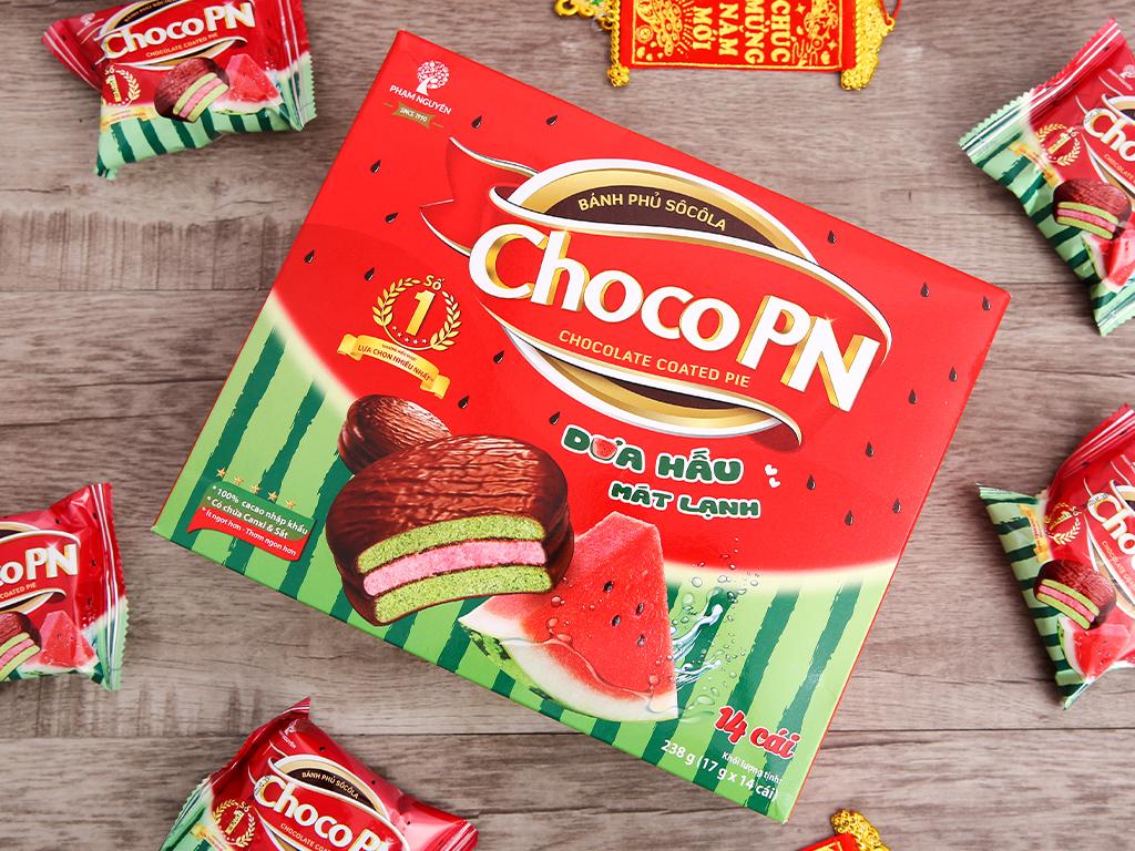 Bánh phủ socola kem marshmallow dưa hấu Choco PN hộp 238g 2
