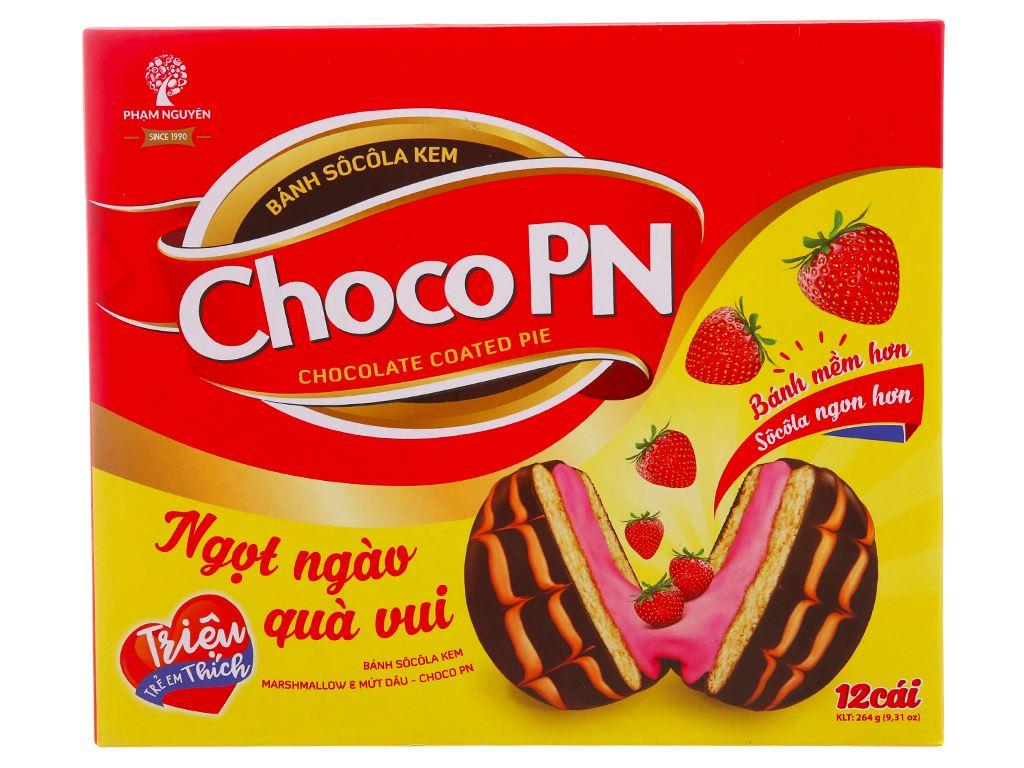 Bánh socola kem nhân marshmallow và mứt dâu Choco PN hộp 264g (12 cái) 2