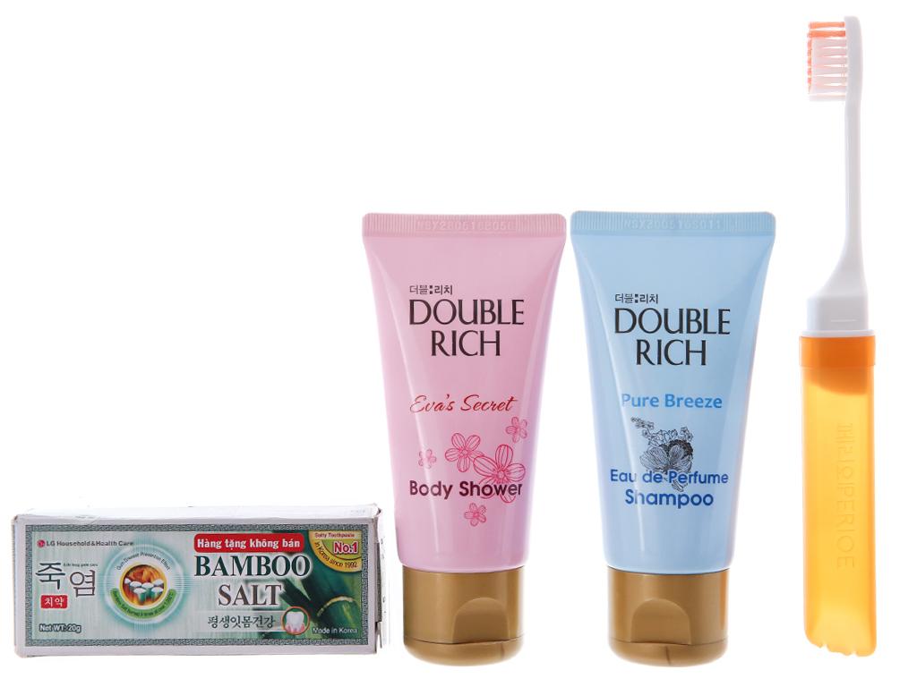 Bộ du lịch Double Rich 4 món (dầu gội, sữa tắm, kem đánh răng, bàn chải) 1