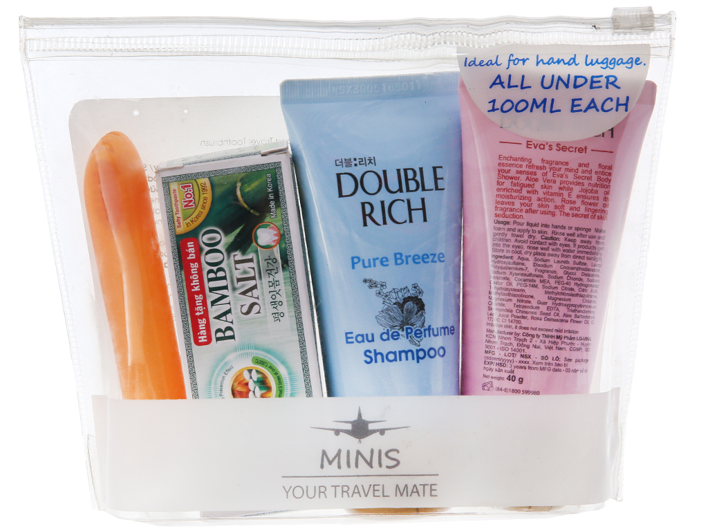 Bộ du lịch Double Rich 4 món (dầu gội, sữa tắm, kem đánh răng, bàn chải) 2