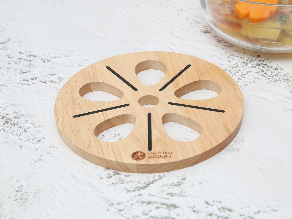 Lót nồi tròn hình hoa gỗ Điện Máy Xanh LN-DT01 1