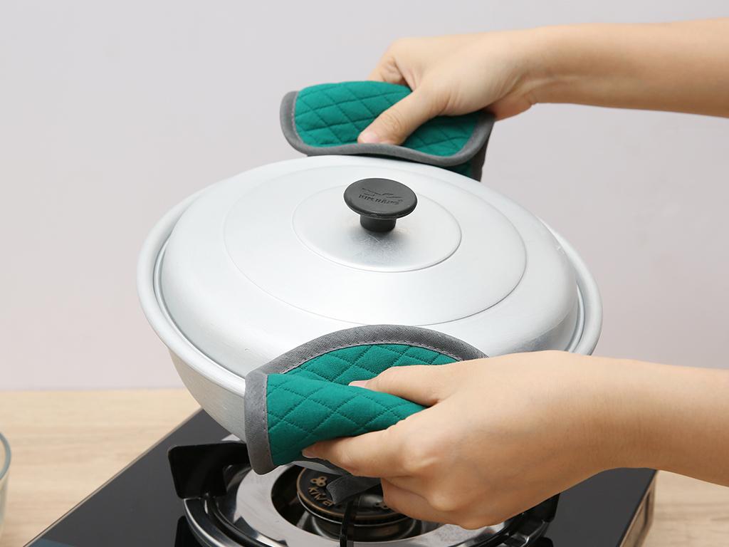 Bộ nhấc nồi oval cotton Vina Towel BB01 xanh jean 4