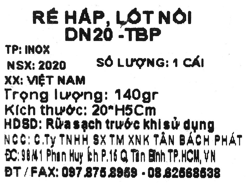 Rế hấp, lót nồi tròn inox Tân Bách Phát DN20 5