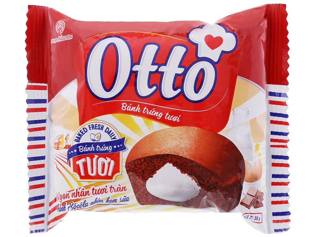 Bánh trứng tươi socola nhân kem sữa Otto gói 38g 1