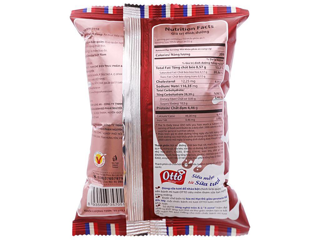 Bánh mì tươi nhân kem socola Otto gói 55g 2