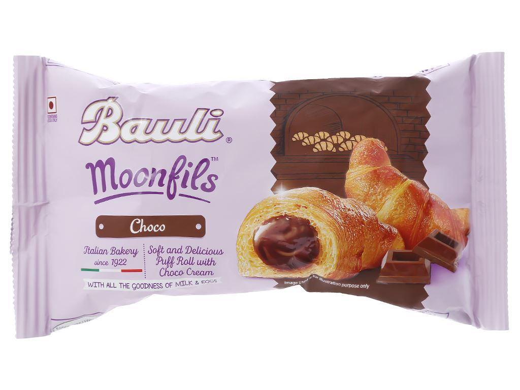 Bánh croissant nhân kem socola Moonfils Bauli gói 47g 1
