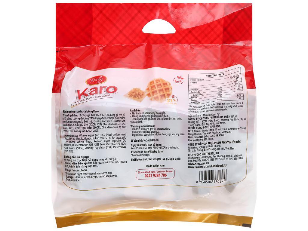 Bánh trứng tươi chà bông Karo Richy túi 156g (26g x 6 gói) 2