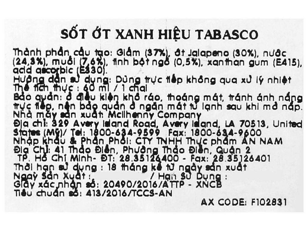 Sốt ớt xanh Tabasco chai 60ml 9