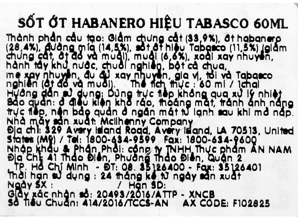 Sốt ớt Habanero Tabasco chai 60ml 9
