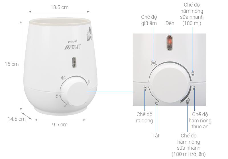 Thông số kỹ thuật Máy hâm sữa đơn Philips Avent SCF355.00