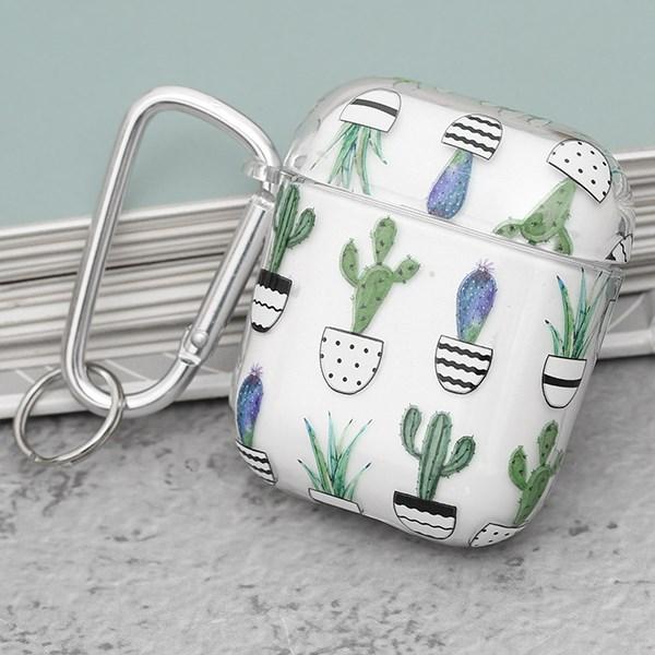 Túi đựng AirPods 1 & 2 Nhựa cứng trong kèm móc JM PD01 in hình cây xương rồng xanh