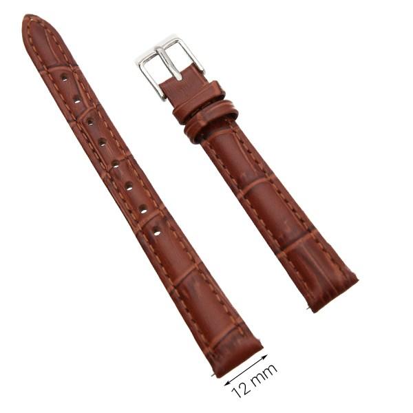Dây da đồng hồ size 12 mm nâu G022